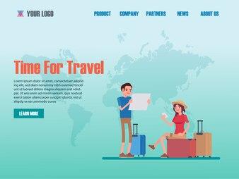 Modelos de página da web de design plano de agência de viagens
