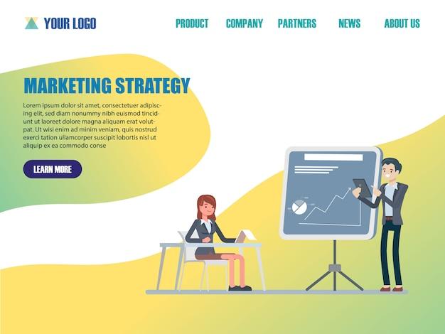 Modelos de página da web de design plano de estratégia de marketing