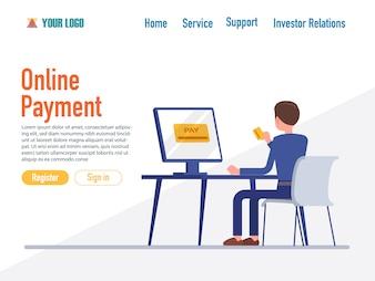 Modelos de página da web de design plano de pagamento on-line