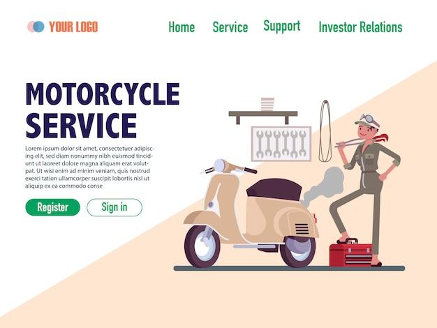 Modelos de página da web de design plano de serviço de motocicleta