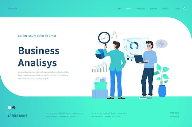 Modelos de página da web para análise de negócios. conceito de ilustração moderna para o site.