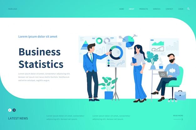 Modelos de página da web para estatísticas de negócios. conceito de ilustração moderna para o site.