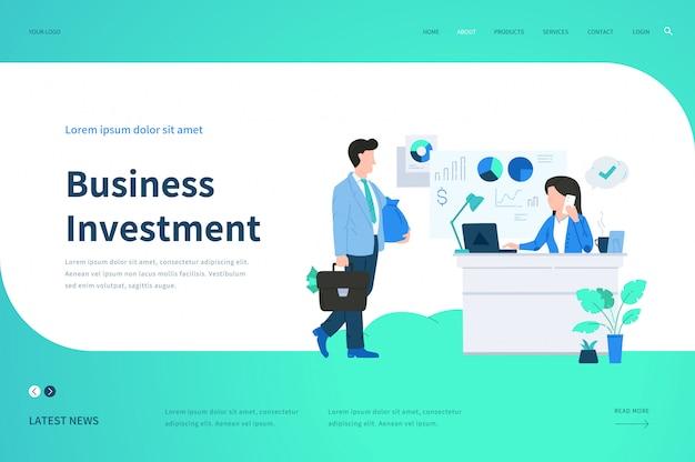Modelos de página da web para investimento comercial. conceito de ilustração moderna para o site.