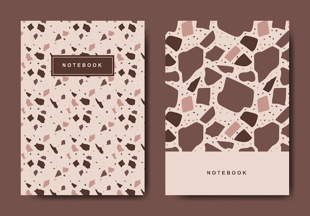 Modelos de página de capa abstrata de terrazzo.