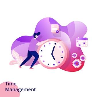 Modelos de página de design para gerenciamento de tempo. desenvolvimento de sites e aplicativos móveis. ilustração do estilo moderno.