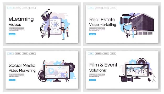 Modelos de página de destino da produção de marketing de vídeo