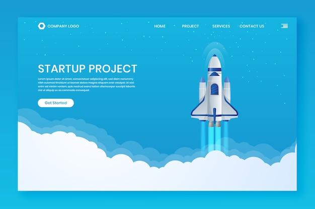 Modelos de página de destino da web de cabeçalho para a lua do foguete de inicialização