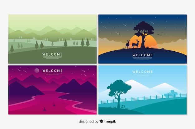 Modelos de página de destino de boas-vindas com paisagem