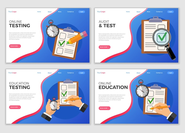 Modelos de página de destino de teste educacional