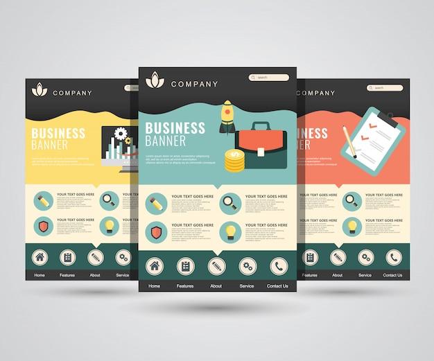 Modelos de página de destino para marketing digital, inicialização, planejamento, análise