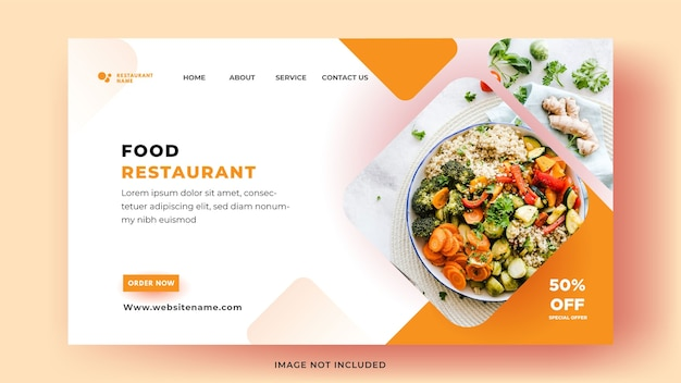 Modelos de página de destino. venda de alimentos