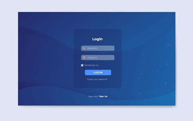 Modelos de página de login da web plana moderna