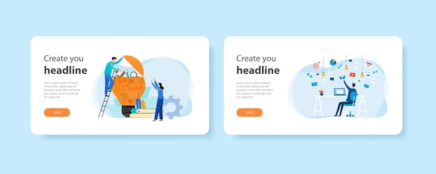 Modelos de página inicial de destino da web de design plano de ideias de aprendizagem e pesquisa de encontro de pessoas com lâmpada