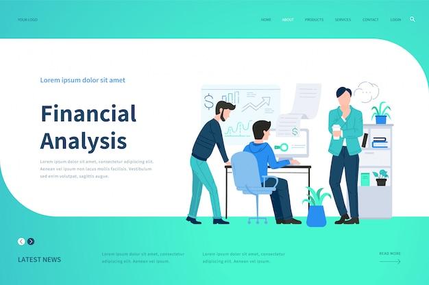 Modelos de páginas da web para análise financeira. conceito de ilustração moderna para o site.