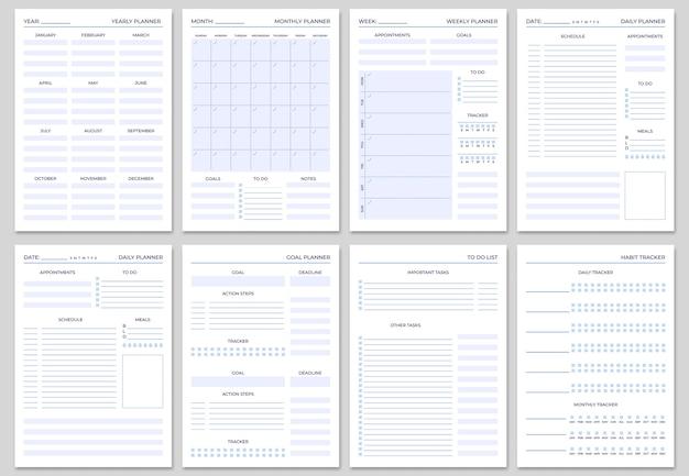 Modelos de páginas de planejador minimalistas.