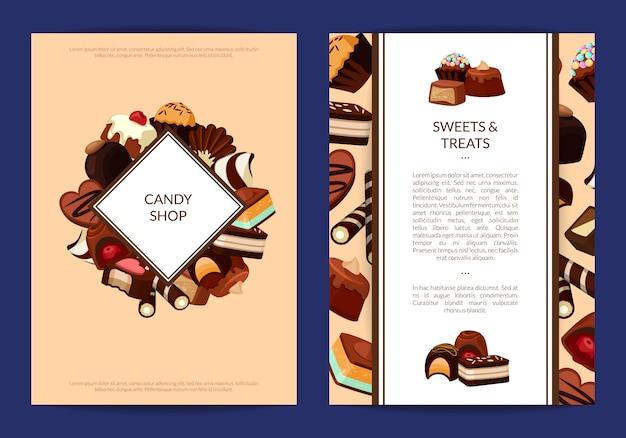 Modelos de panfleto de cartão conjunto com bombons de chocolate dos desenhos animados e lugar para texto