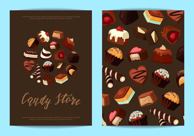 Modelos de panfleto de cartão definido para com bombons de chocolate dos desenhos animados e lugar para texto