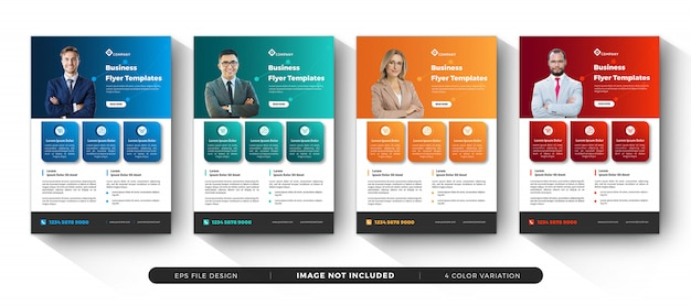 Modelos de panfleto de negócios corporativos com variação de cores