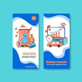 Modelos de panfleto de negócios em estilo aquarela