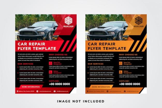 Modelos de panfleto de reparação de automóveis designs com espaço para colagem de fotos na parte superior.