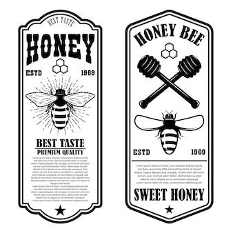 Modelos de panfleto vintage mel natural. elementos de design para logotipo, etiqueta, sinal, crachá.