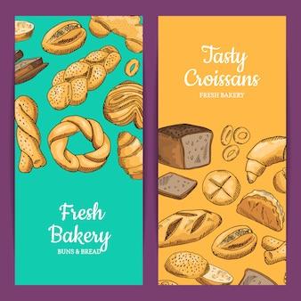 Modelos de panfletos de loja com elementos de padaria