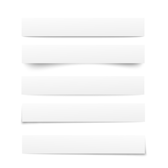 Modelos de papel. coleção de papéis de nota branco com sombras. separadores de papel, divisórias. delimitadores de página. ilustração