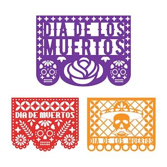 Modelos de papel picado para o dia mexicano dos mortos.