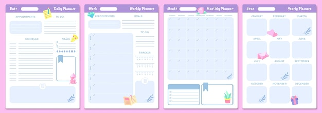 Modelos de planejador bonitos. planejadores diários, semanais, mensais e anuais. agenda da página, calendário mensal, agenda do organizador. ilustração vetorial