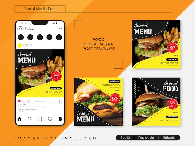 Modelos de postagem de banners de mídia social de alimentos