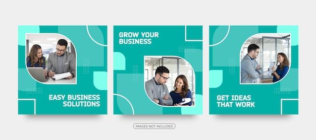Modelos de postagem de mídia social com soluções fáceis de negócios