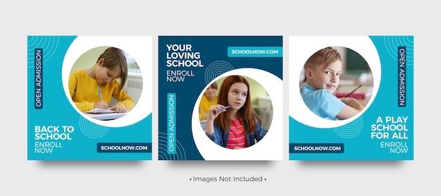 Modelos de postagem de mídia social da play school