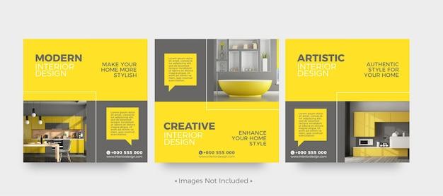 Modelos de postagem de mídia social de design de interiores moderno
