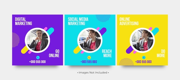 Modelos de postagem de mídia social de marketing de mídia social