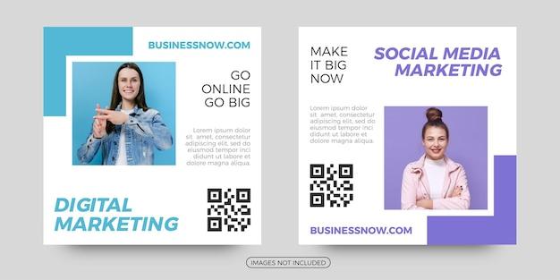 Modelos de postagem de mídia social de marketing digital