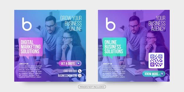Modelos de postagem de mídia social de soluções de negócios online