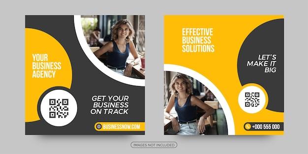 Modelos de postagem de mídia social de soluções empresariais