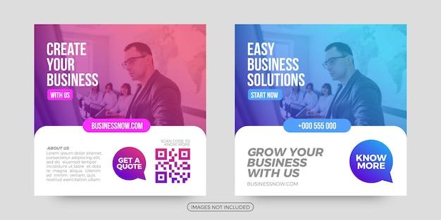 Modelos de postagem de mídia social de soluções fáceis de negócios