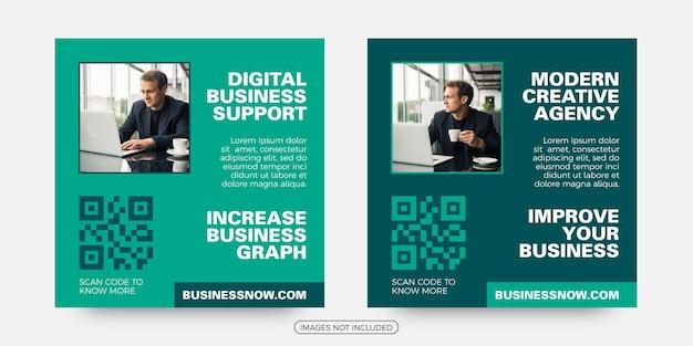 Modelos de postagem de mídia social de suporte a negócios digitais