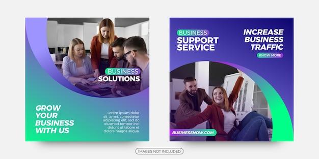 Modelos de postagem de mídia social de suporte empresarial