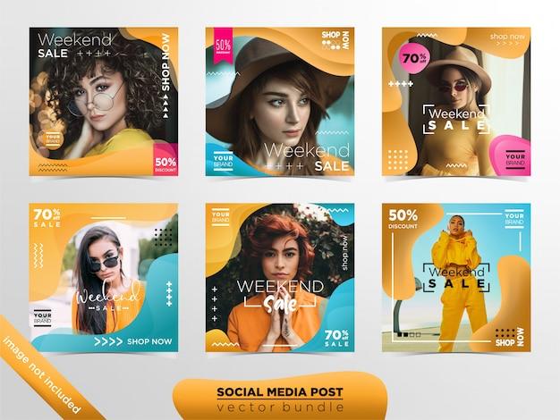 Modelos de postagem de mídia social de venda de moda