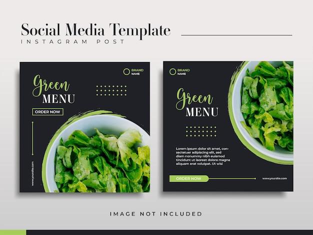 Modelos de postagem de mídia social do menu verde