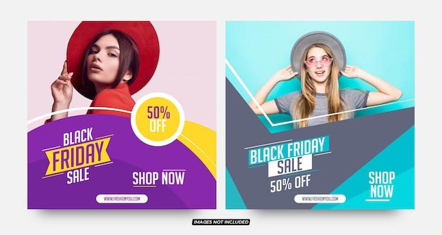 Modelos de postagem de mídia social em estilo moderno preto para venda