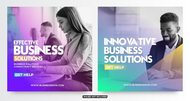 Modelos de postagem de mídia social moderna de soluções de negócios