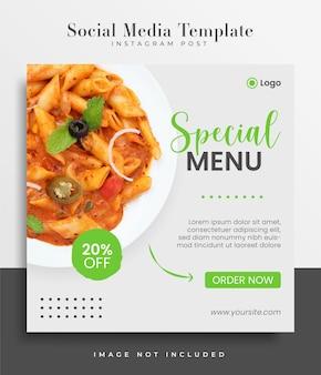 Modelos de postagem de mídia social para cardápio de comida