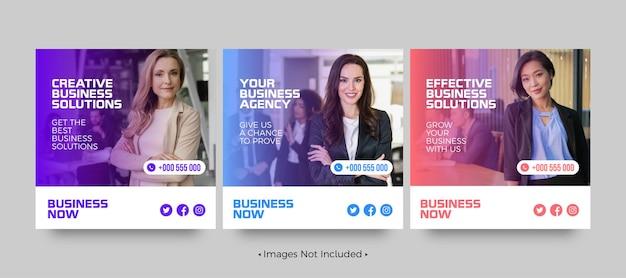 Modelos de postagem de mídia social para soluções criativas de negócios