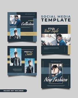 Modelos de postagem de mídia social para venda de moda no conceito minimalista