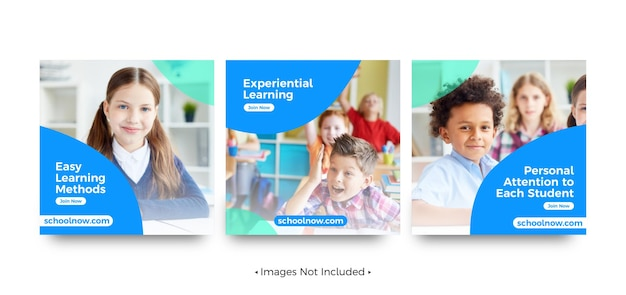 Modelos de postagem de mídia social promocional escolar