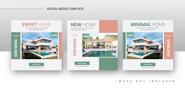 Modelos de postagem de promoção de venda de imóveis em mídia social quadrada