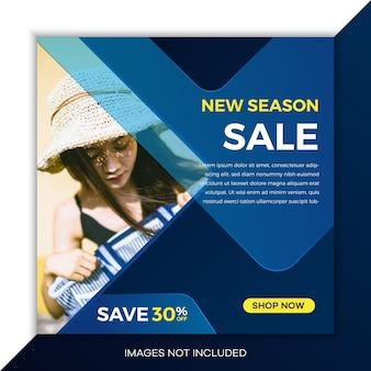 Modelos de postagem de venda em mídia social com cor azul